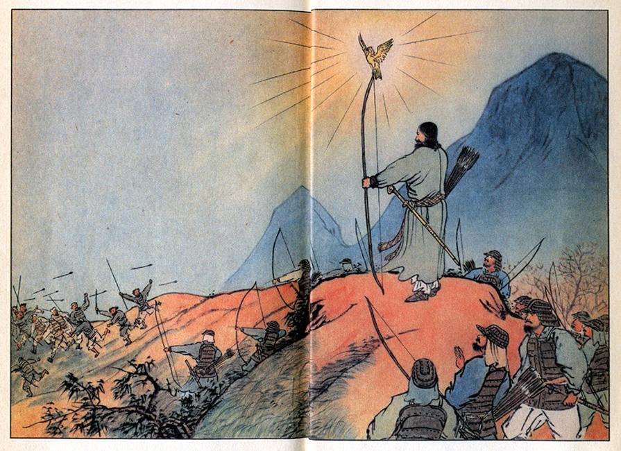 102-神武天皇と金鵄(ヨイコドモ-口絵)